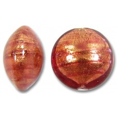 1 Murano Glass Rose Gold Foiled 14mm Lentil Bead
