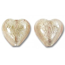 Pair Murano Glass Light Pink with White Goldfoil 14mm Hearts
