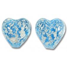 2 Murano Glass Crackle White Gold Foiled Aquamarine Blue 10mm Heart Beads