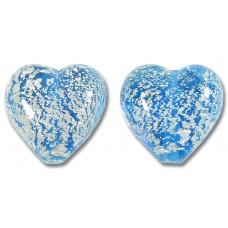 2 Murano Glass Crackle White Gold Foiled Aquamarine Blue 14mm Heart Beads
