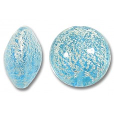 1 Murano Glass Crackle White Gold Foiled Aquamarine Blue 14mm Lentil Bead