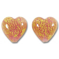 Pair Murano Glass Crackle Goldfoil Alabaster Rose 14mm Heart Beads