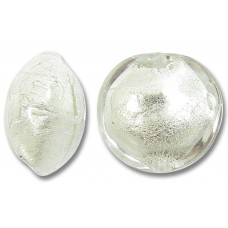 1 Murano Glass Crystal Clear White Gold Foiled 10mm Lentil Bead