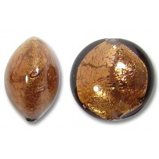 1 Murano Glass Mid Chocolate Amethyst Gold Foiled 10mm Lentil Bead
