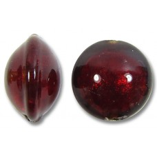 1 Murano Glass Dark Ruby Gold Foiled 10mm Lentil Bead