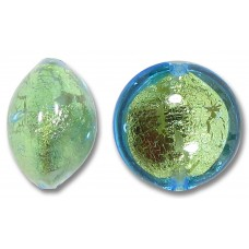 1 Murano Glass Verde Emerald Gold Foiled 10mm Lentil Bead
