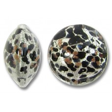 1 Murano Glass Moonlight White Gold Foiled with Black & Aventurine 14mm Lentil