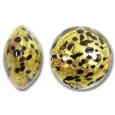 1 Murano Glass Sunlight Gold Foiled with Black & Aventurine 14mm Lentil