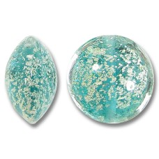 1 Murano Glass Verde Ice Crackle White Gold Foiled 14mm Lentil Bead