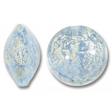 1 Murano Glass Blue Ice Crackle White Gold Foiled 14mm Lentil Bead