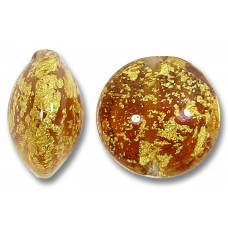 1 Murano Glass Medium Topaz Crackle Gold Foiled 14mm Lentil