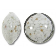 1 Murano Glass English Rain Grey with Aventurine 14mm Lentil bead