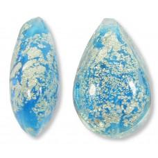 1 Murano Glass Crackle White Gold Foiled Aquamarine Blue Small Pear Drop