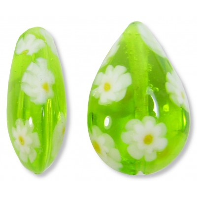 1 Murano Glass Lime and White Millefiore Small Pear Drop Bead