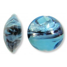 1 Murano Glass Turquoise Swish 14mm Lentil