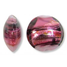 1 Murano Glass Rose Swish 14mm Lentil