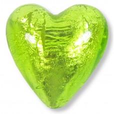 1 Murano Glass Light Erba (Lime) Silver Foiled 20mm Heart Bead
