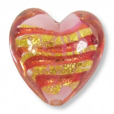 1 Murano Glass Goldfoiled Doges Palace Ruby Rose 20mm Heart Bead