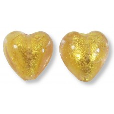 2 Murano Glass Light Pink Gold Foiled 10mm Heart Beads.