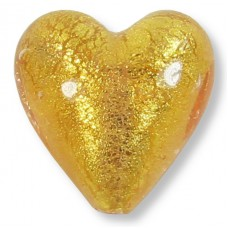 1 Murano Glass Light Pink Gold Foiled 20mm Heart Bead
