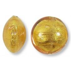 1 Murano Glass Light Pink Gold Foiled 14mm Lentil