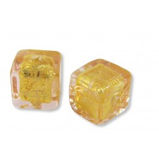 2 Murano Glass Light Pink Gold Foiled Crystal Cube Beads