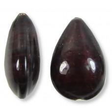 1 Murano Glass Darkest Ruby Silver Foiled Small Pear Drop Bead