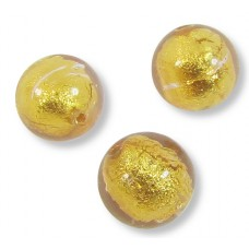 10 Murano Glass Light Pink Gold Foiled 8mm Round Beads.