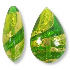 1 Murano Lime and Erba Ripple Gold Foiled Small Pear Drop