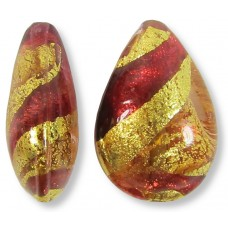 1 Murano Pink and Ruby Ripple Gold Foiled Small Pear Drop