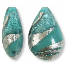 1 Murano Glass Verde Murano Glass and Turquoise Ripple White Gold Foiled Small Pear Drop