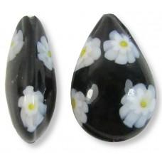1 Murano Glass Black White Yellow Millefiore Small Pear Drop Bead