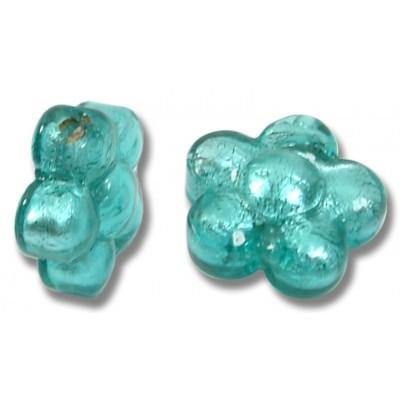 Pair Murano Glass Silverfoiled Verde Marino Flower Beads