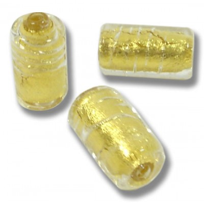 1 Murano Glass Gold Foiled Clear Cylinder Bead