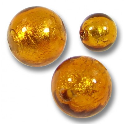 10 Murano Glass Gold Foiled Topaz 10mm Round Beads