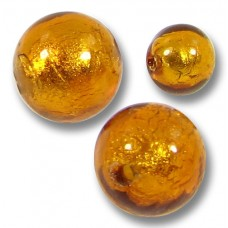 10 Murano Glass Gold Foiled Medium Topaz 10mm Round Beads