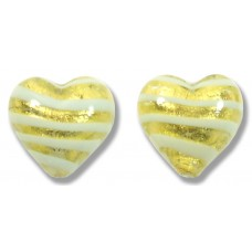 Pair Murano Glass Gold Foiled with Aqua Spiral 12mm Heart Beads