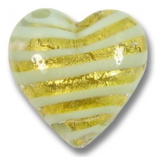 1 Murano Glass Gold Foiled with Aqua Spiral 20mm Heart