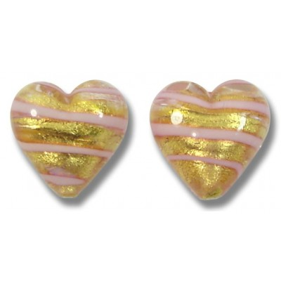 Pair Murano Glass Gold Foiled with Pink Spiral 12mm Heart Beads