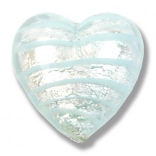 1 Murano Glass Silver Foiled with Aqua Spiral 20mm Heart