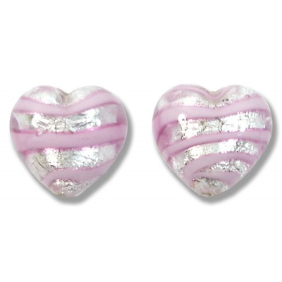 Pair Murano Glass Silver Foiled with Pink Spiral 12mm Heart Beads