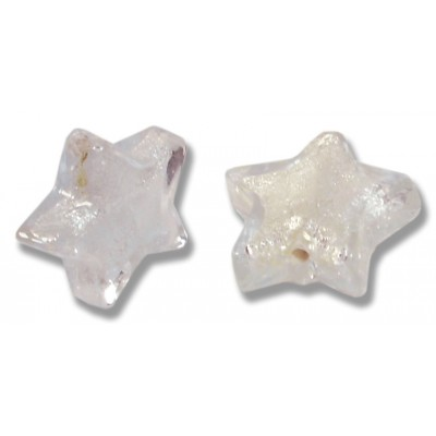Pair Murano Glass Alexandrite Silver Foiled Star Beads