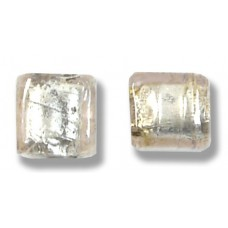 Pair Murano Glass Pale Pink Silver Foiled 8mm Cube Beads