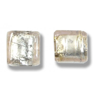Pair Murano Glass Pale Pink Silver Foiled Cube Beads