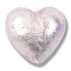 1 Murano Glass Pale Pink Silver Foiled 20mm Heart