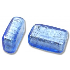 1 Murano Glass Sapphire Silver Foiled Oblong Bead