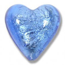1 Murano Glass Sapphire Silver Foiled 20mm Heart