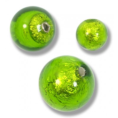 10 Murano Glass Silver Foiled Verde Erba 10mm Round Beads