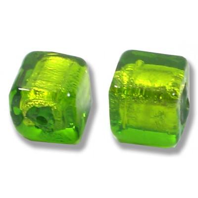 Pair Murano Glass Verde Erba Silver Foiled Cube Beads