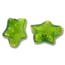 Pair Murano Glass Verde Erba Silver Foiled Star Beads
